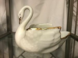 Vintage Swan With Gold Trim Porcelain Teissonniere Limoges