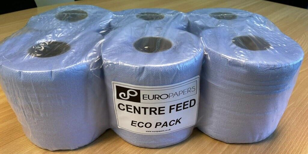 12 ECO BLUE Jumbo Rolls 2 Ply Centre Feed Commercial Kitchen Towel Embossed 50M