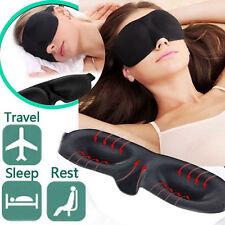 Soft Padded Blindfold 3D Eye Mask Travel Rest Sleep Aid Shade Cover Unisex Black