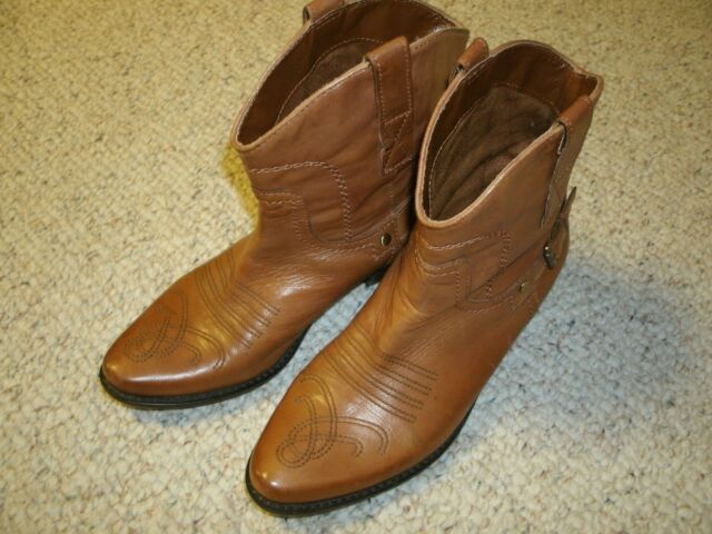 Franco Sarto Brown Leather Cowboy Western Boots Riding Women 7.5 M