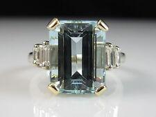 18K Aquamarine Diamond Ring Emerald Cut Two-Tone Fine Jewelry Aqua Size 7.5