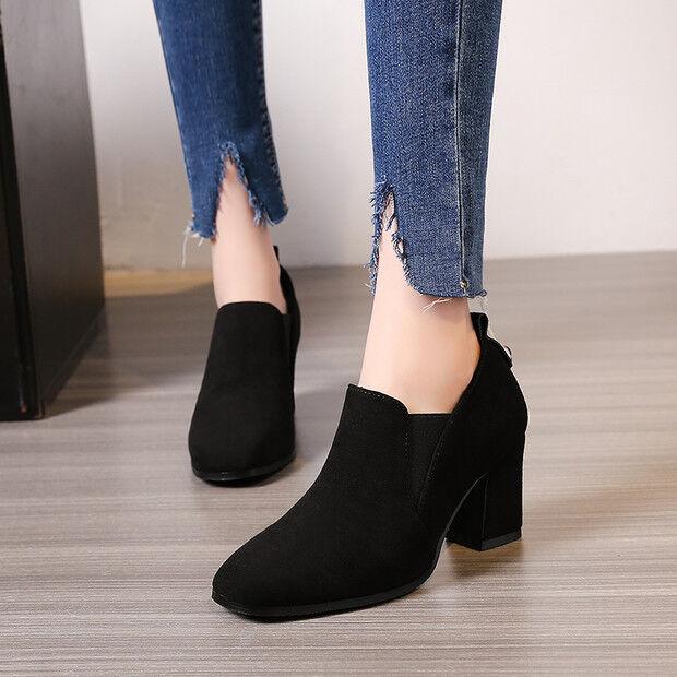 Bottes basses chaussures 7 cm noir sombre élégant comme cuir 9494