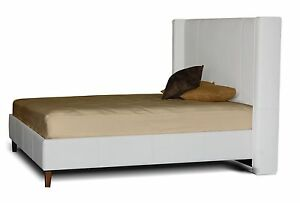 Contemporary King size Wing Bed in Genuine Leather - Choose Your Color!