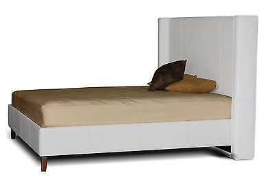 Contemporary King size Wing Bed in Genuine White Leather