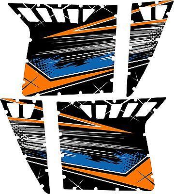 Pro Armor Door Graphics Kit Polaris RZR S XP 900 Orange Mad Blue Without Cutouts