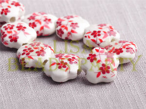 New-10pcs-15mm-Flower-Porcelain-Ceramic-Loose-Spacer-Beads-Findings-Red
