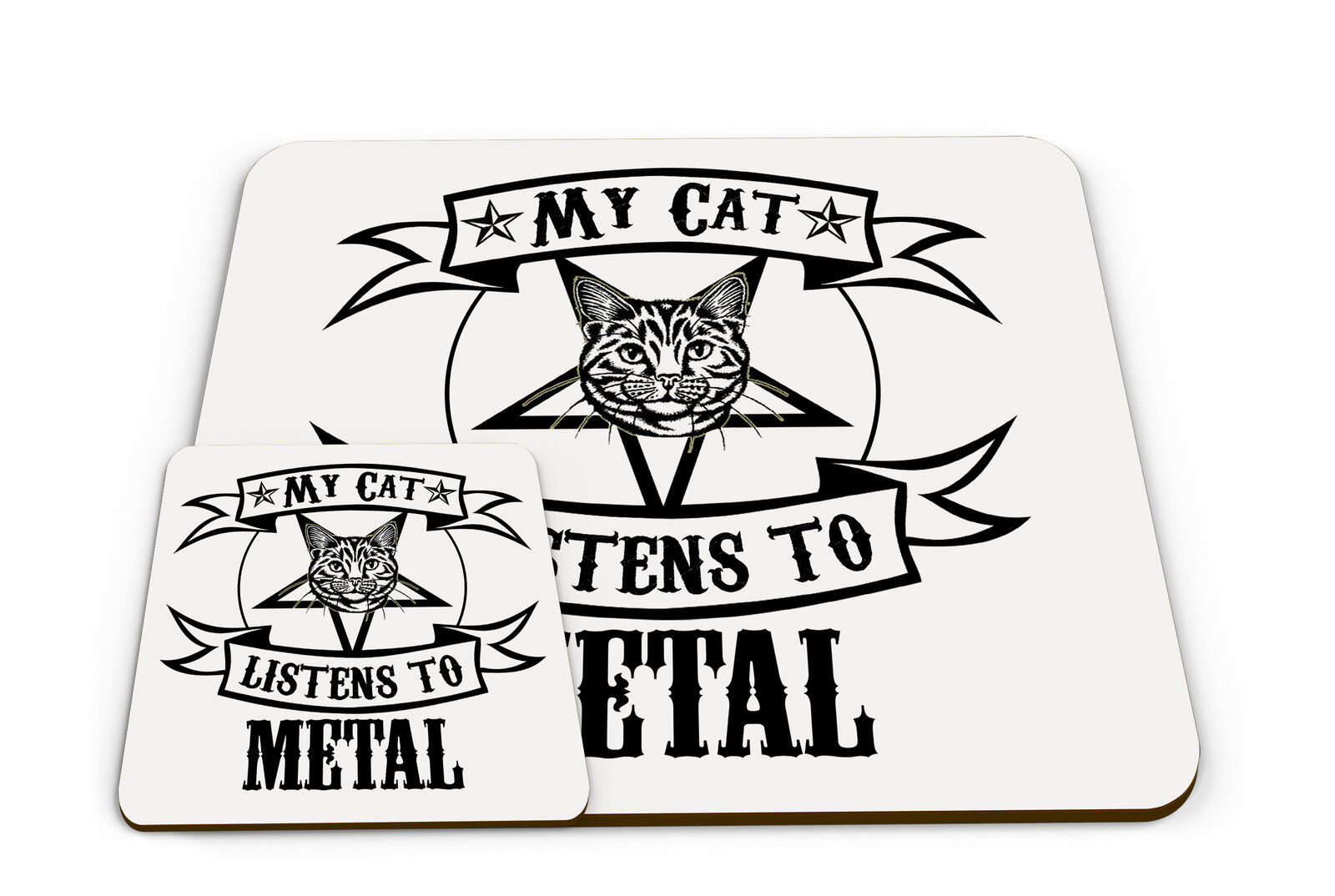 Set of My Cat Listens To Metal Funny Novelty Placemat & Coaster