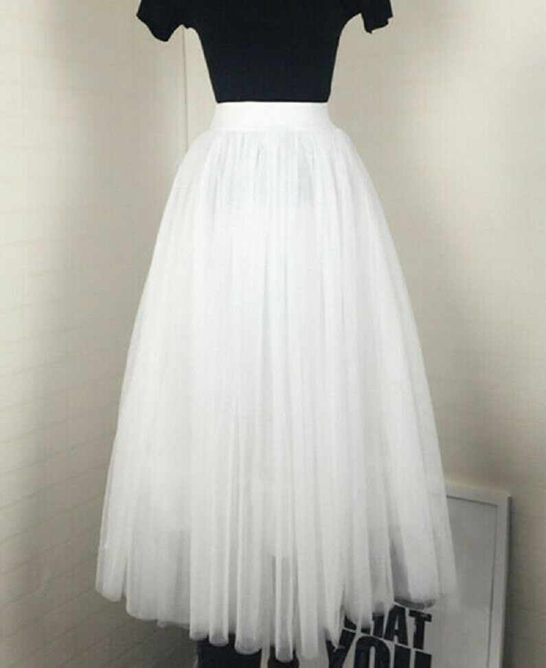 Image 1 - Girls Women Tulle High Waist Maxi Dress Skater Flared Pleated Midi Skirt White