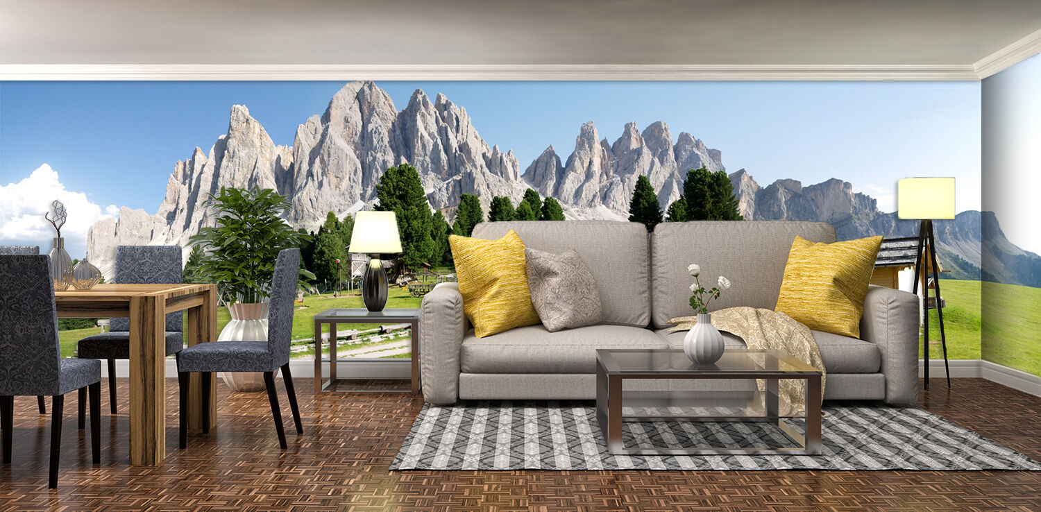 3D mountain sunny grassland Wall Paper Print Decal Wall Deco Indoor wall Mural