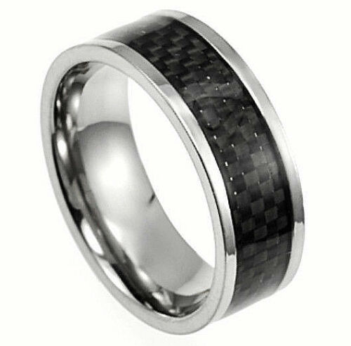 size 13 in a Gift Box! TITANIUM FASHION RING BAND with Carbon Fiber Accent