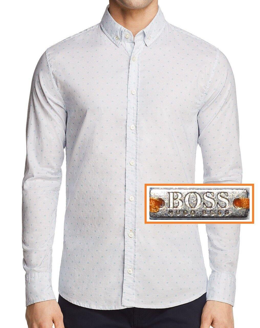 Nueva Con Etiquetas  Hugo Boss naranja Calce Ajustado Mangas Largas Camisa Estampado Botón-Delantero  compras de moda online