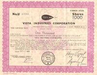 Vista Industries Corporation   1978 share stock certificate