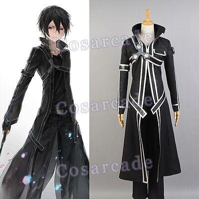Sword Art Online SAO Kazuto Kirigaya Kirito Cosplay Costume Outfit Suit Coat Set