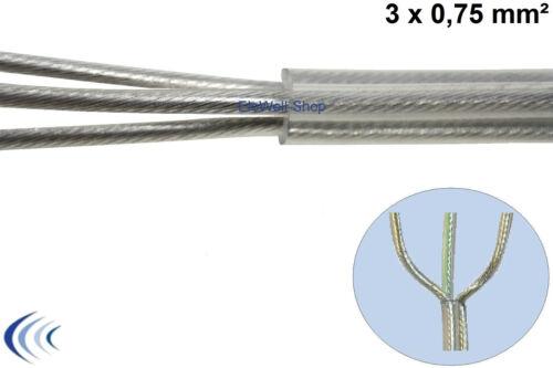 Schlauchleitung transparent 3x0,75 rund PVC-Kabel Deckenlampe Lampenleitung DIY