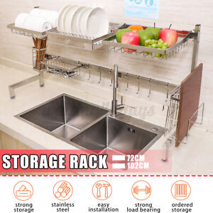 Dish-Drying-Rack-Kitchen-Organizer-Drain-Over-Sink-Stainless-Steel-Holder-Stand