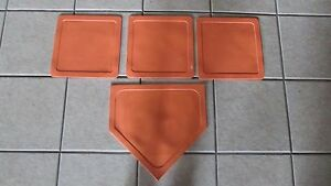 Prosport-Throw-Down-4-Plate-Baseball-Softball-Base-Plate-Set-Orange-Rubber
