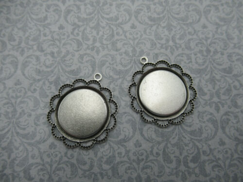 18mm Round Oxidized Silver Plated Scalloped Filigree Settings Base Blanks Qty 2