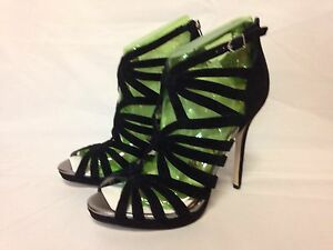 Caged Box Heel New High Suede Eve Sandal Dress Edelman With Black Sam P6YqEE