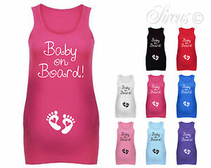 4d3a4da3a3922 WOMENS BABY ON BOARD FEET MATERNITY VEST TANK TOP PREGNANCY GIFT ALL ...