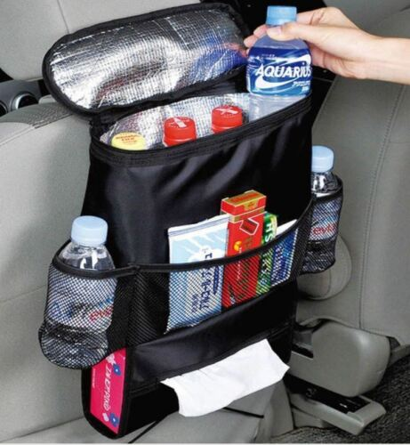 2 x Car Rear Insulated Cooler Bag Seat Organiser Tidy With Tissue Drinks Holder