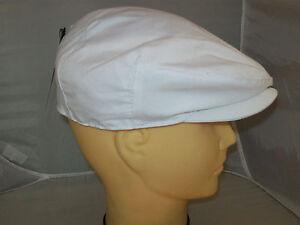 de83fe635 Details about WHITE COTTON FLAT CAP (showerproof) bowls,golf .cricket. FREE  fast post.