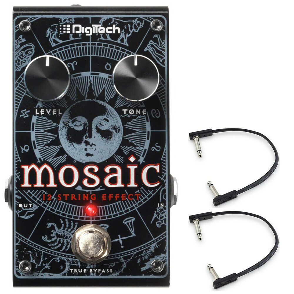Digitech Mosaic Polyphonic 12-String Guitar Effect Pedal w  2-Flat Patch Cables