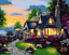"""16x20/"""" DIY Acrylic Paint By Number kit Oil Painting Canvas Garden Cabin Scenery"""