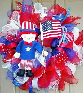 Handmade-Summer-4th-of-July-Deco-Mesh-Wreath-Patriotic-Door-Decor-w-Uncle-Sam