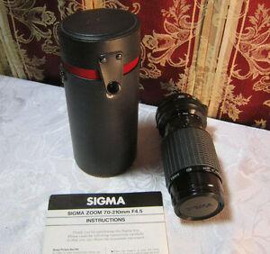 SIGMA-ZOOM-K-II-1-4-5-F-70-210MM-CAMERA-LENS-CASE-INSTRUCTIONS-FD-MOUNT-T