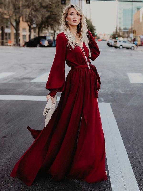Elegante abito vestito morbido lungo stile boho bohemian red maniche 4911