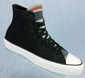 Image is loading Converse-Chuck-Taylor-Black-Suede-Blanket-Stripe-skate- 9eb60ff887