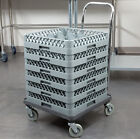 Commercial Dishwasher Plastic Dish Glass Rack Tray Shelf Cart Dolly with Handle