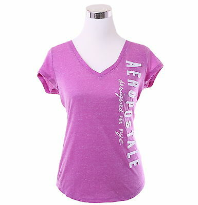 Aeropostale Women Casual Solid V-Neck Graphic T Shirt Style 3385 -Free $0 Ship