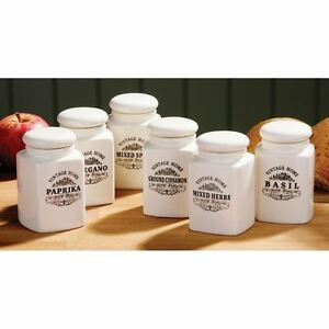 Set of 6 Vintage Home Spice Jars with Lid Cream Ceramic Kitchen ...