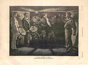 Ecole-Navale-Marins-Le-Reveil-Trompette-amp-Tambour-de-Paul-Renouard-GRAVURE-1885