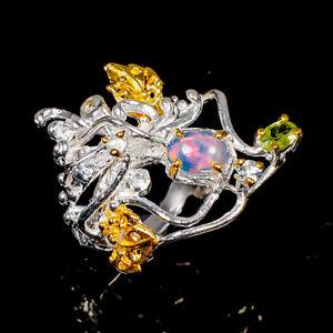 Opal Ring Silver 925 Sterling Beauty Rainbow7x5mm Size 8 /R141190