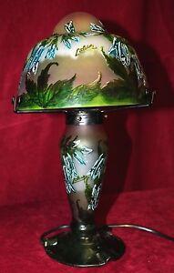 Signed-Antique-Art-Nouveau-Cameo-Art-Glass-Lamp-c-1930