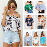 Sexy Women Summer Floral Printing Shirt Off Shoulder casual Loose Tops Blouse