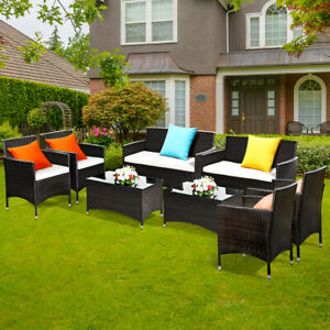 8-PCS-Patio-Garden-Rattan-Furniture-Set-Coffee-Table-Cushioned-Sofa-Brown