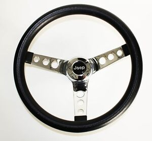 Black-Steering-Wheel-Chrome-13-1-2-034-for-Jeep-CJ-Models-55-63-and-CJ5-6-67-75