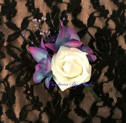 Wedding Buttonhole~Ivory Foam Rose*Galaxy Orchids*Babies Breath