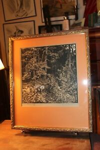 Framed-Matted-Woodcut-Print-by-Leo-Suitbert-Lobisser-Signed-Ed-9-53-Circa-1930