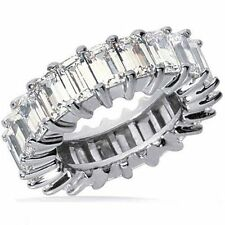 8.41 carat Emerald Cut DIAMOND ETERNITY BAND RING size 7, 24 x 0.35 ct 14k Gold