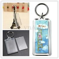 Transparent Blank Insert Photo Picture Square Frame Key Rings Key Chain Keyfob