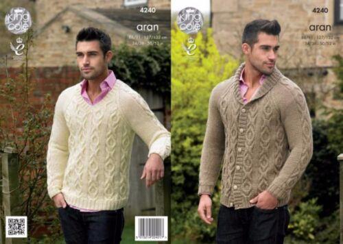 King Cole  Aran Knitting Pattern 4240:Mens Jacket /& Sweater