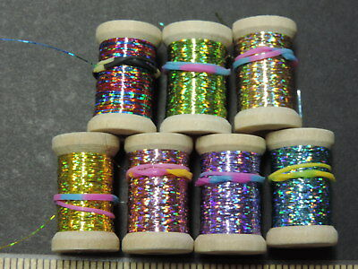 1 Spool Extra Thin Flat HOT PINK Holographic Tinsel Flash Ribbing 12 Yards