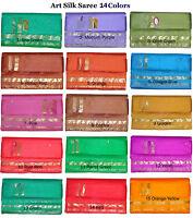 Indian Art Silk Sari Saree Belly Dance Dress Curtain Drape Panel Fabric 9 Colors
