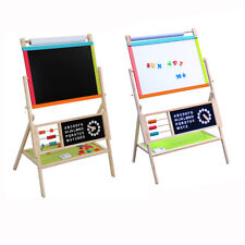 All In One Kid's Wooden Art Easel Double Side w/Paper Roll & Tray Accessories