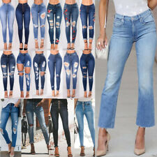 WOMENS RIPPED JEANS HIGH WAIST SLIM FIT LADIES SKINNY DENIM SIZES 6 TO 16 UK