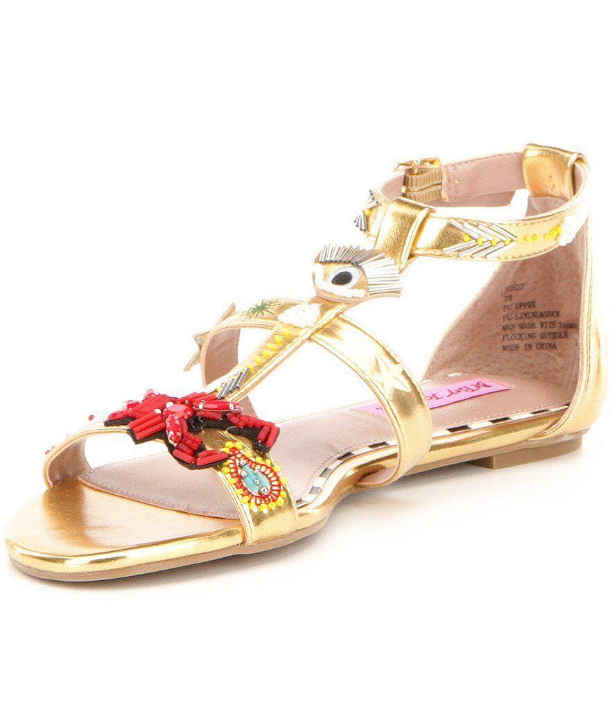 Nuevo En Caja Betsey Johnson Johnson Johnson Jossy Sandalias adornos dorados metálicos para mujer Talla 7.5  el más barato